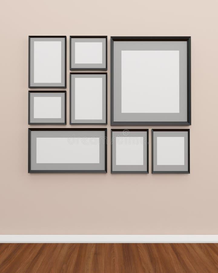 在墙壁上的照片框架 库存例证
