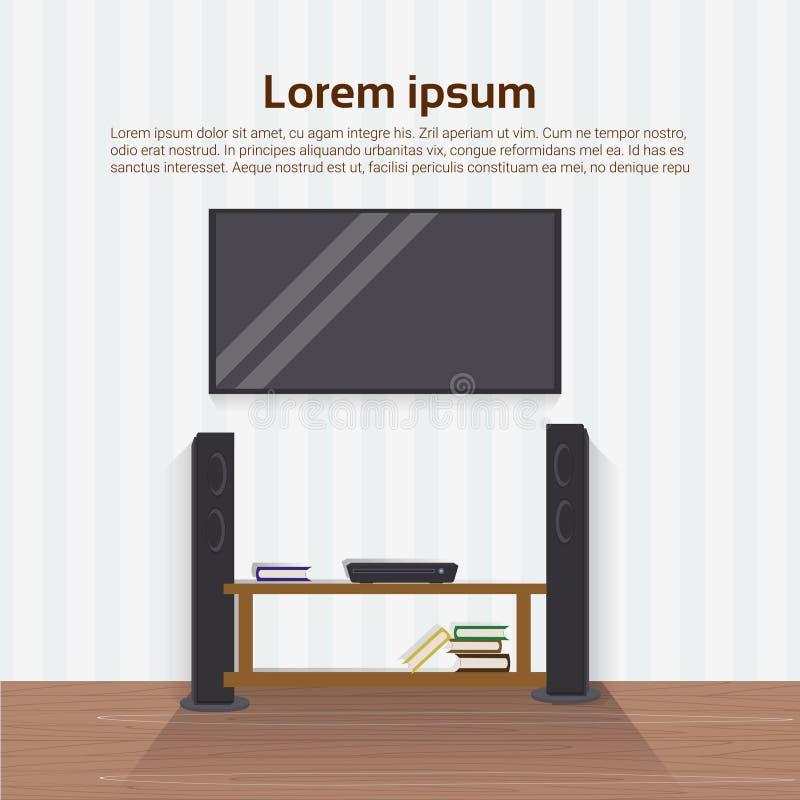 在墙壁上的现实被带领的电视机在客厅现代家庭室内设计 向量例证