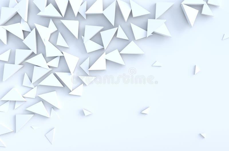 在墙壁上的白色背景三角样式 向量例证