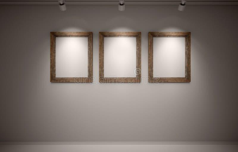 在墙壁上的空白框架 向量例证