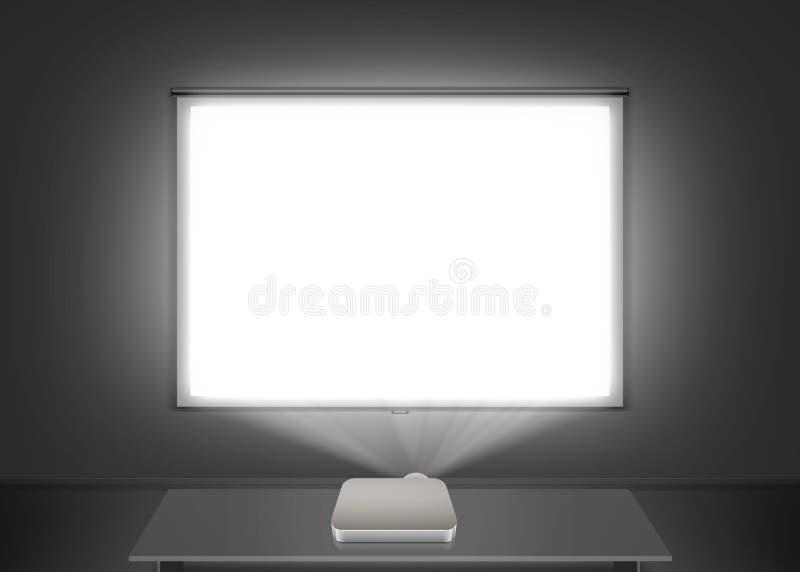 在墙壁上的空白的放映机屏幕大模型 投射光 免版税库存照片