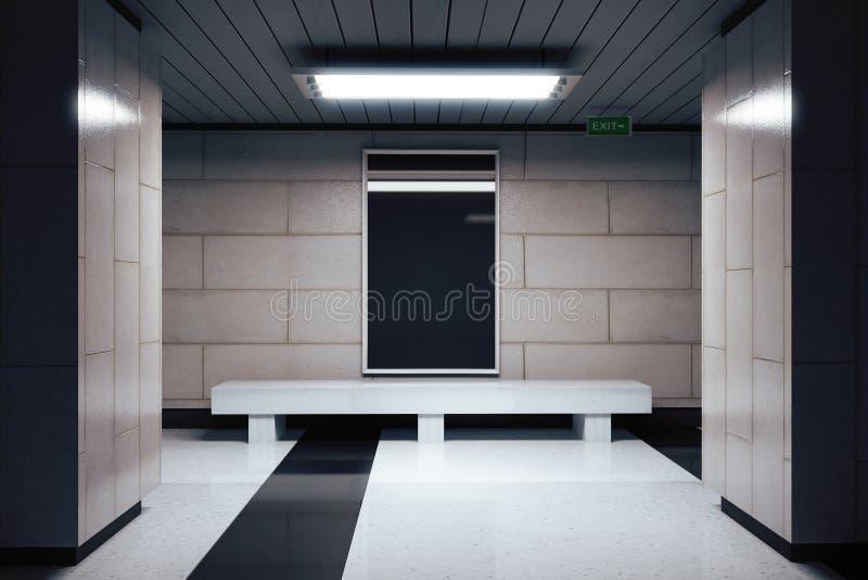在墙壁上的空白的横幅在空的地铁大厅里 皇族释放例证
