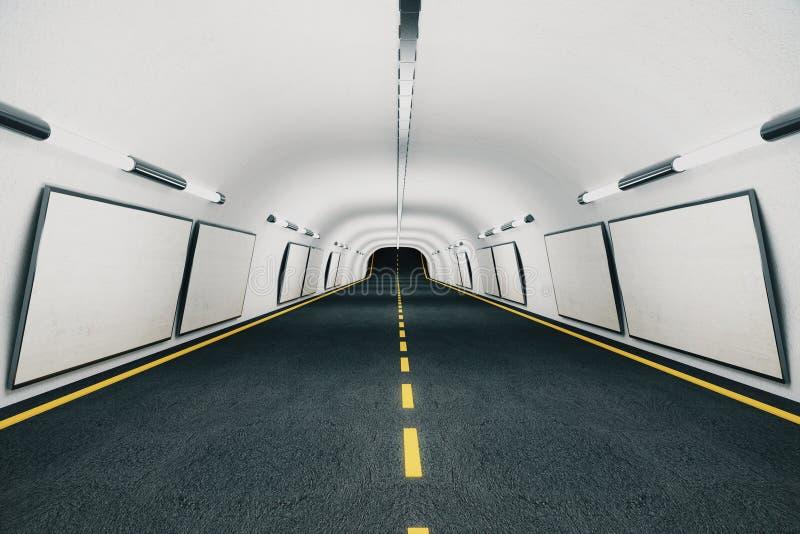 在墙壁上的空白的白色广告牌在现代空的隧道 向量例证
