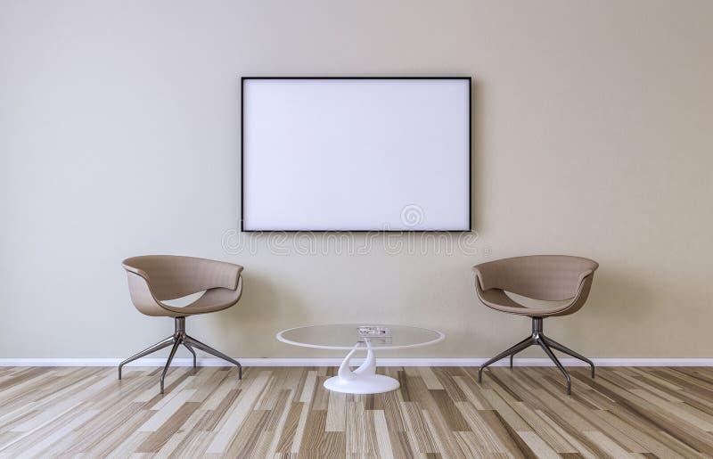 在墙壁上的空白的画框 库存例证
