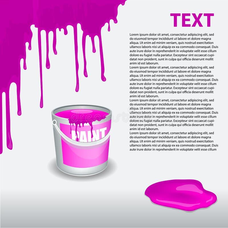 在墙壁上的紫罗兰色油漆水滴 编辑可能的模板 库存例证