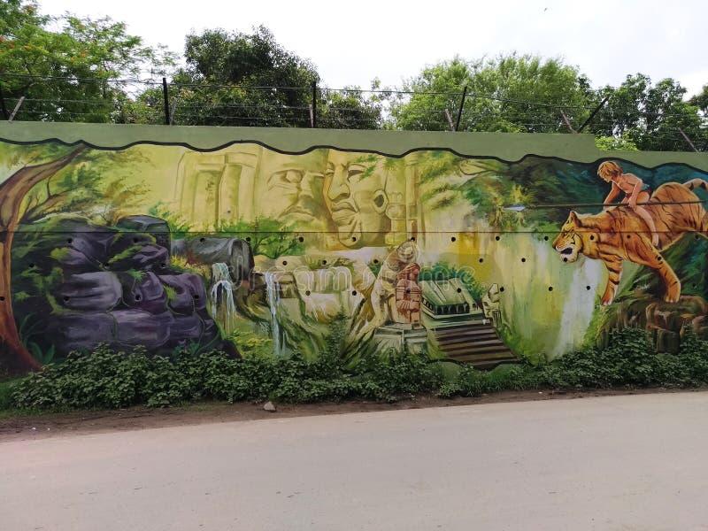 在墙壁上的绘画由一位地方艺术家 向量例证