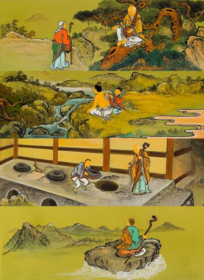 在墙壁上的老传统佛教绘画 库存例证
