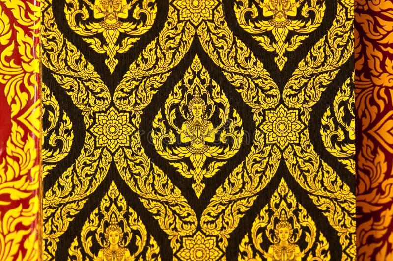 在墙壁上的葡萄酒传统泰国线艺术 免版税图库摄影