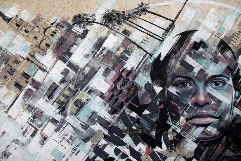 在墙壁上的街道画作为背景 库存图片