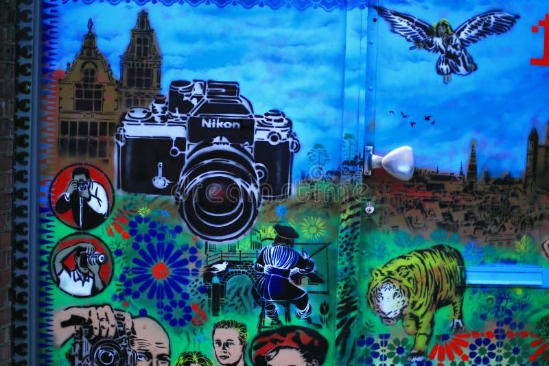 在墙壁上的街道画艺术 库存照片