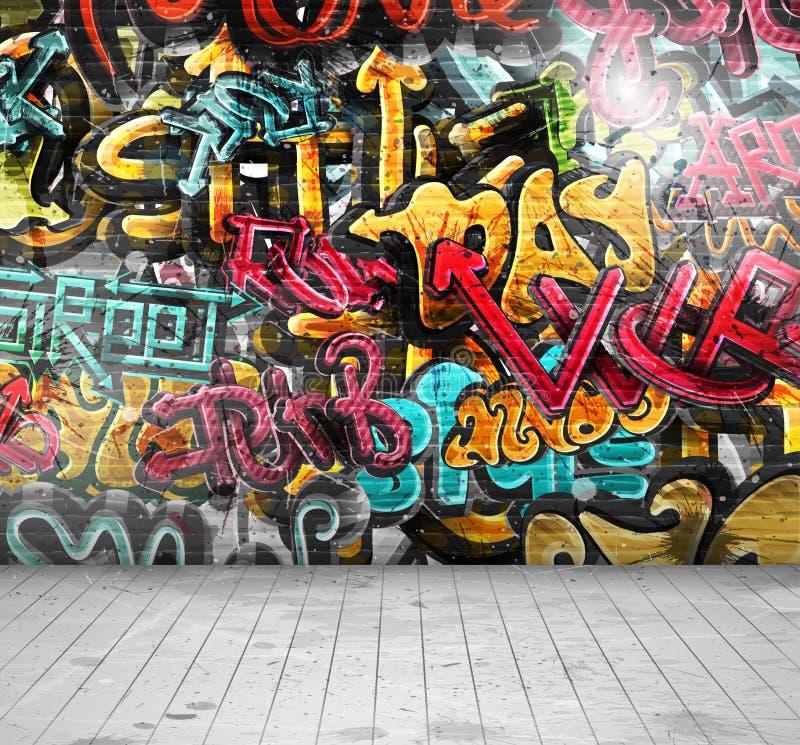 在墙壁上的街道画 库存例证