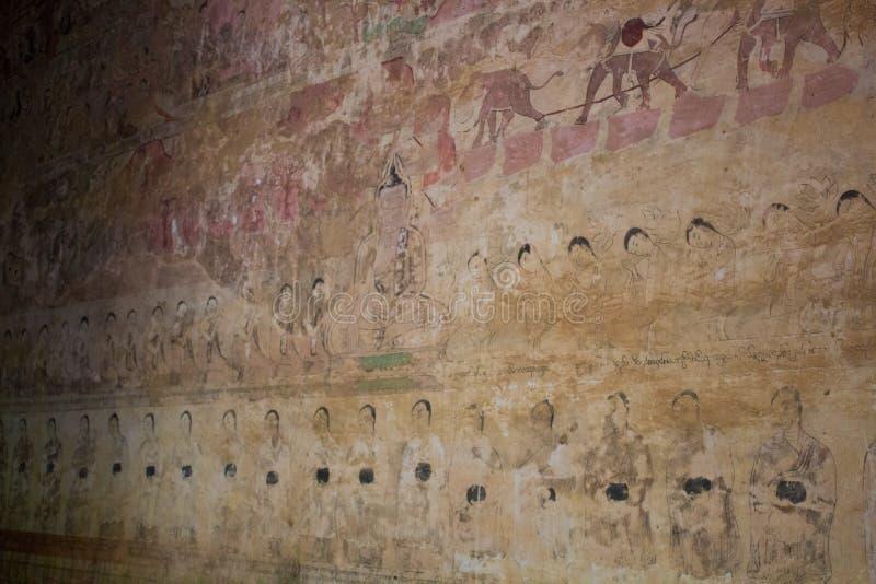 在墙壁上的被破坏的菩萨故事绘画 免版税图库摄影