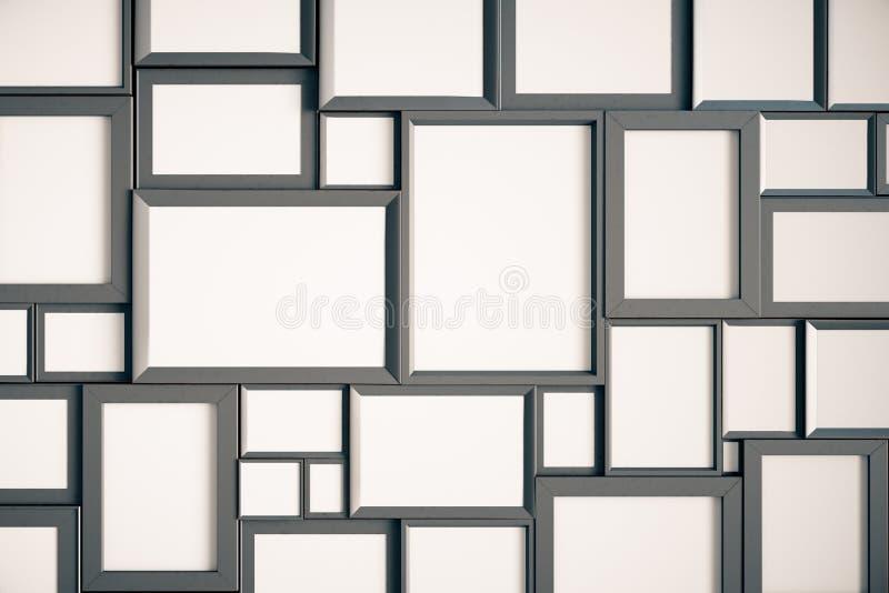 在墙壁上的许多空白的木画框 向量例证