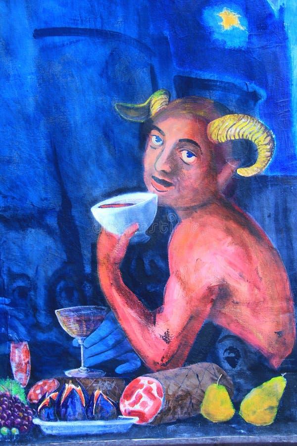 在墙壁上的绘画在Vigoleno 图库摄影