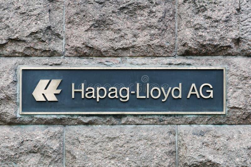 在墙壁上的Hapag劳埃德商标 免版税库存照片