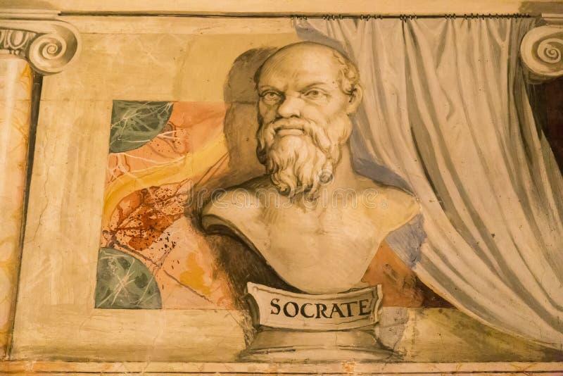 在墙壁上的Socrates画象 免版税库存图片