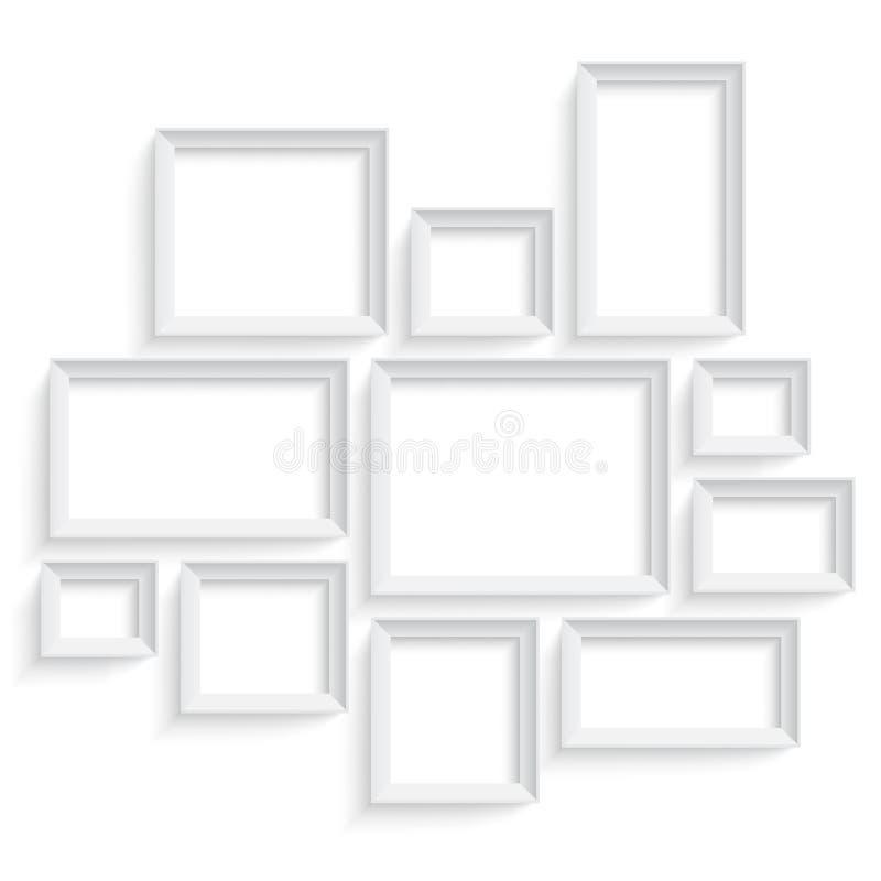 在墙壁上隔绝的空白的画框模板集合 照片美术画廊 向量例证