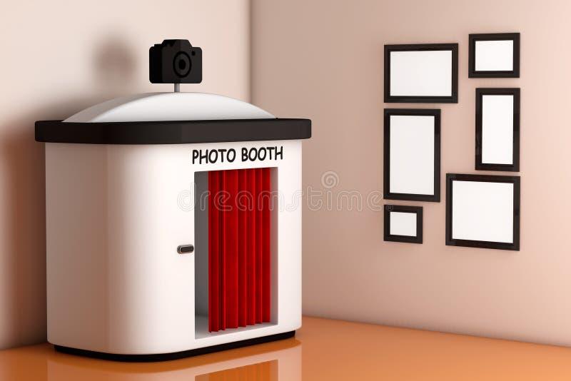 在墙壁前面的照片摊有空白的画框的 3D rende 库存例证