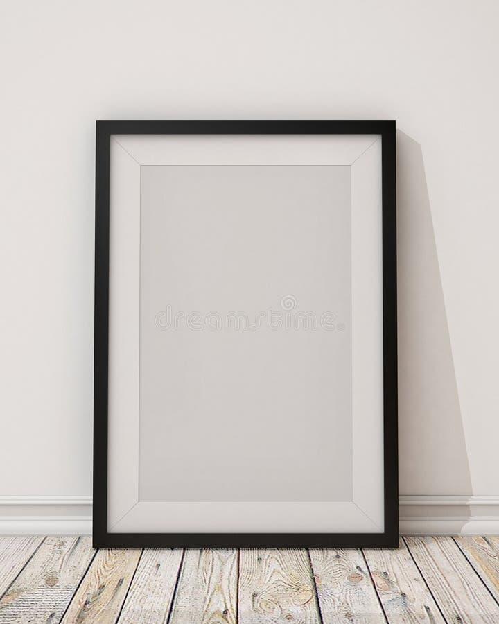 在墙壁和地板上的空白的黑画框 库存例证
