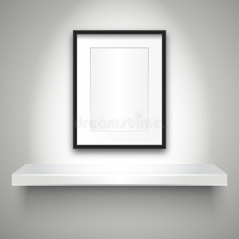 在墙壁和空白的框架上的空的架子 皇族释放例证