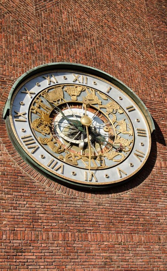 在墙壁市政厅的天文学时钟 库存照片