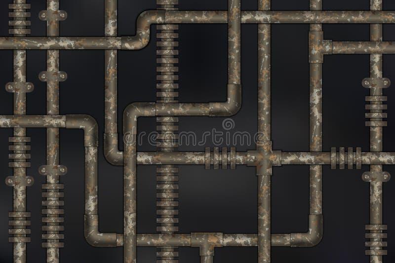 在墙壁摘要工业steampunk背景的黑暗和生锈的管子 皇族释放例证