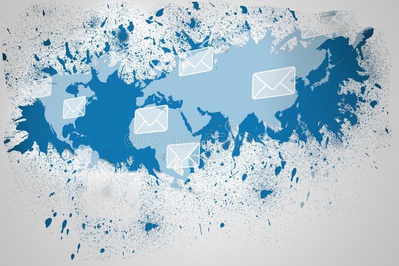 在墙壁显露的电子邮件图表的飞溅 库存例证