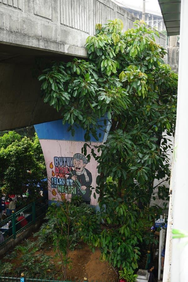在墙壁柱子天桥的墙壁上的街道艺术都市城市 库存照片
