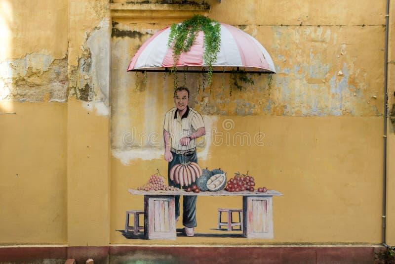 在墙壁槟榔岛上的乔治城马来西亚图片 库存图片
