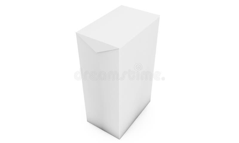在墙壁演播室背景的白色立方体 3d翻译 皇族释放例证