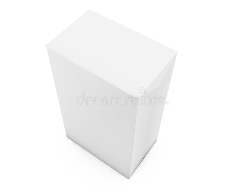 在墙壁演播室背景的白色立方体 3d翻译 向量例证