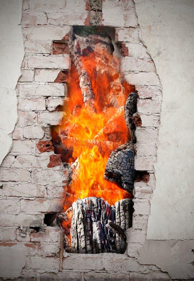 在墙壁的火 库存图片