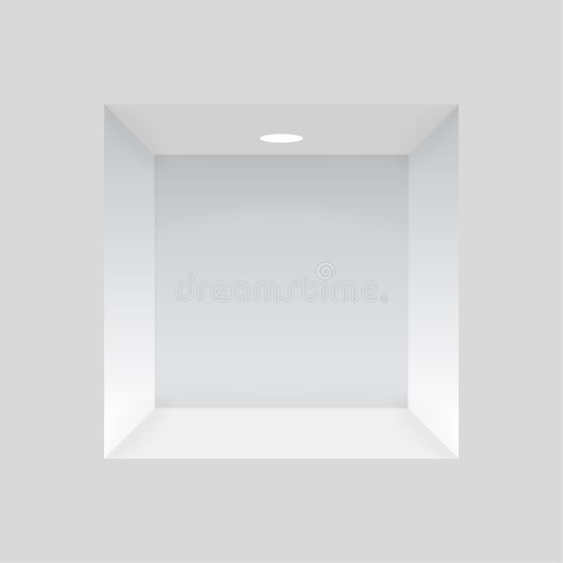 在墙壁的空的适当位置有光的 库存例证