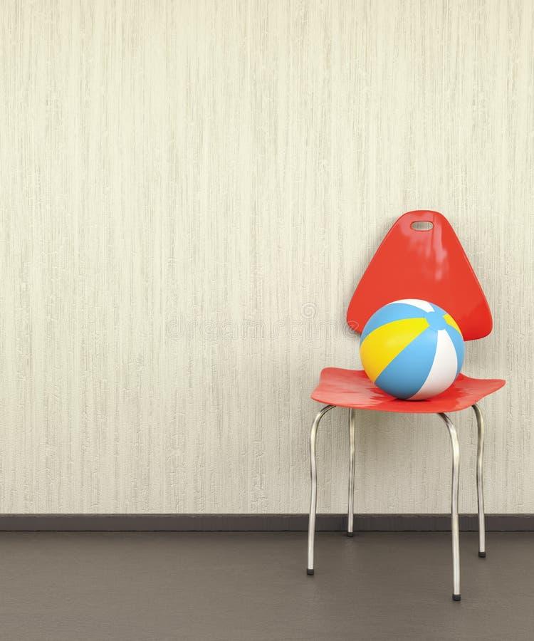 在墙壁的红色椅子有球的 库存例证