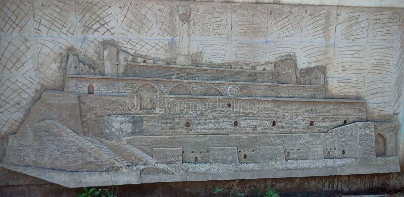 在墙壁艺术,卡努尔安得拉邦的Kondareddy burj 库存照片