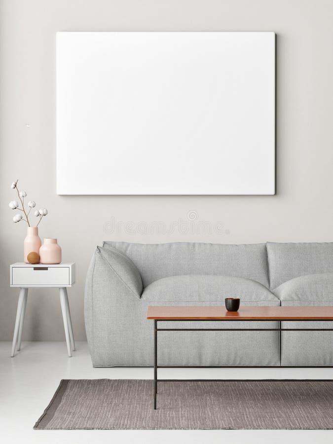 在墙壁,客厅行家背景上的假装海报, 向量例证