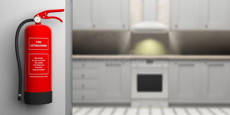 在墙壁,迷离房子厨房背景上的灭火器 3d例证 皇族释放例证