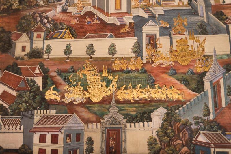 在墙壁, 2016年7月16日的曼谷玉佛寺上的泰国壁画 免版税图库摄影