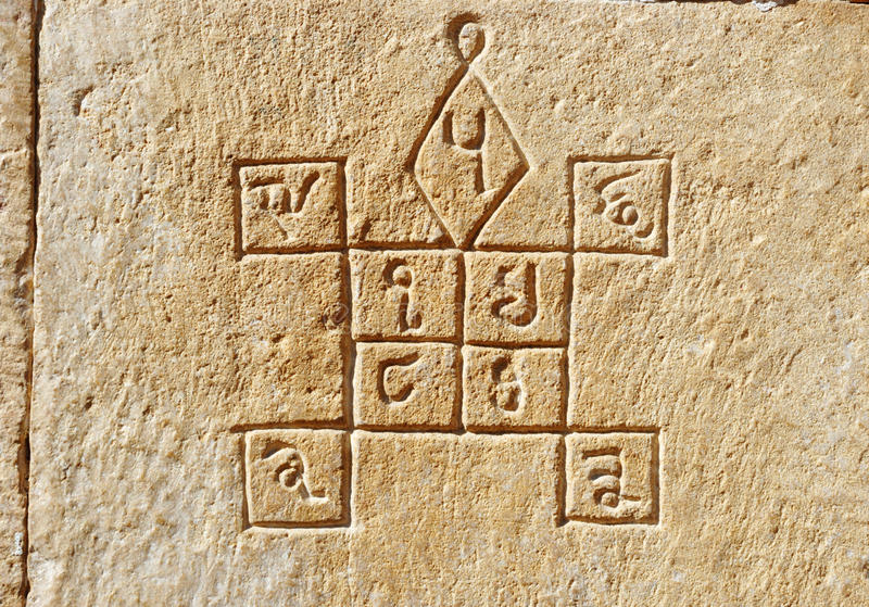 在墙壁, Jaisalmer,印度上的古老印度占星术标志 免版税库存图片