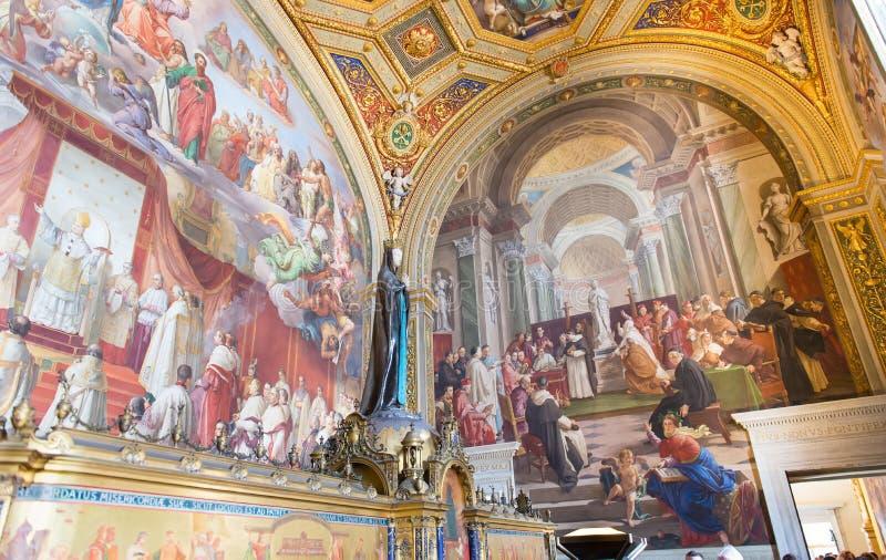 在墙壁(Stanze di Raffaello)上的壁画在梵蒂冈博物馆在罗马 库存照片