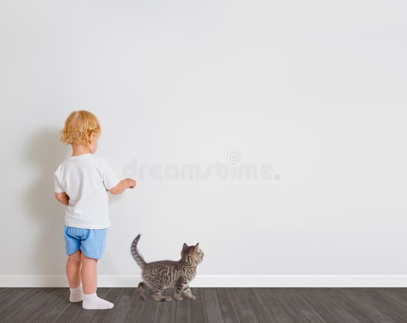 在墙纸身分的男婴图画回到与一点猫的照相机 免版税库存照片