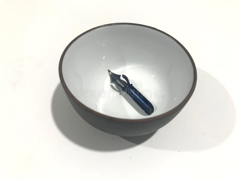在墨水碗里面的针对性的鸟嘴 免版税库存照片