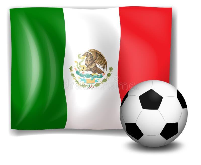 在墨西哥旗子前面的一个足球 向量例证