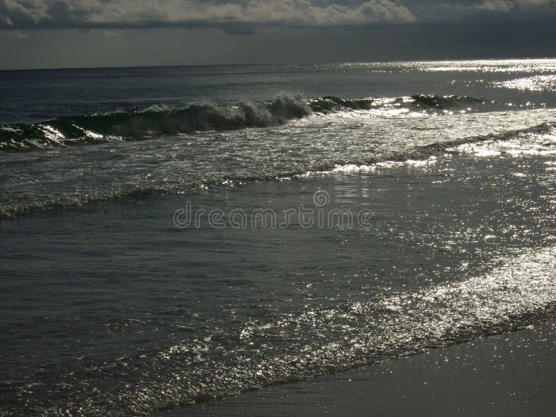 在墨西哥湾海岸的银色水 免版税库存照片