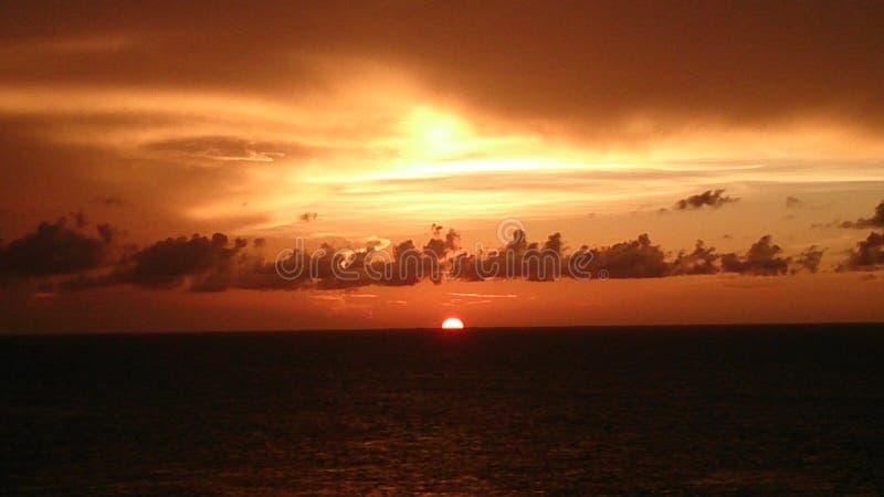 在墨西哥湾,佛罗里达的日落 免版税库存照片