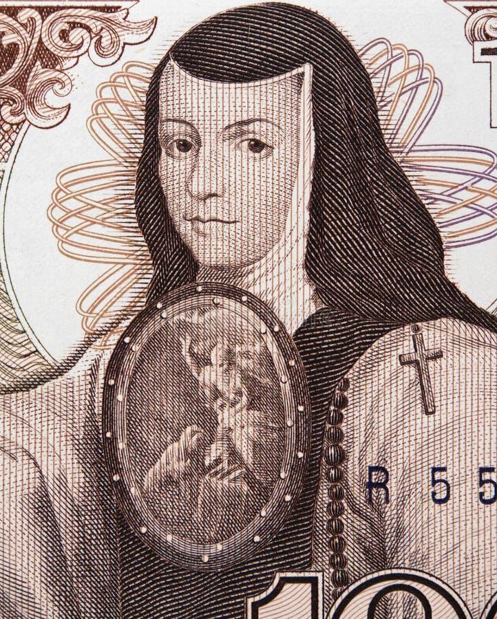 在墨西哥的Sor胡安娜Ines de la Cruz画象1000个比索1985 b 免版税库存图片