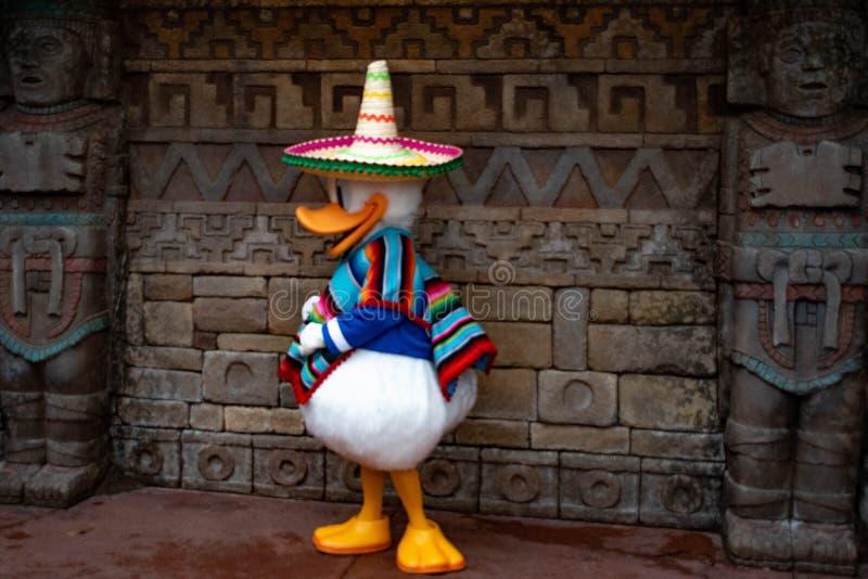 在墨西哥衣裳的唐老鸭在Epcot 2 库存照片