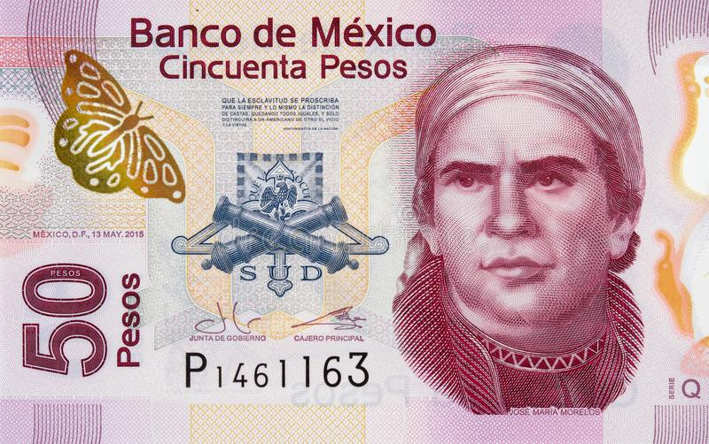 在墨西哥50比索2015年ba的何塞玛丽亚莫雷洛斯州y帕冯画象 免版税图库摄影