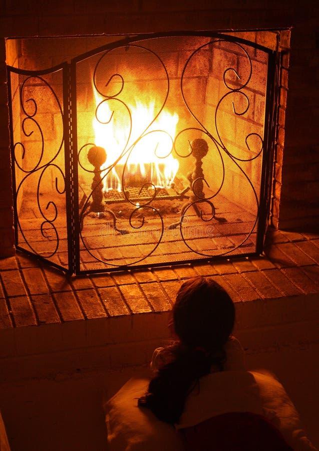 在壁炉的火 免版税图库摄影