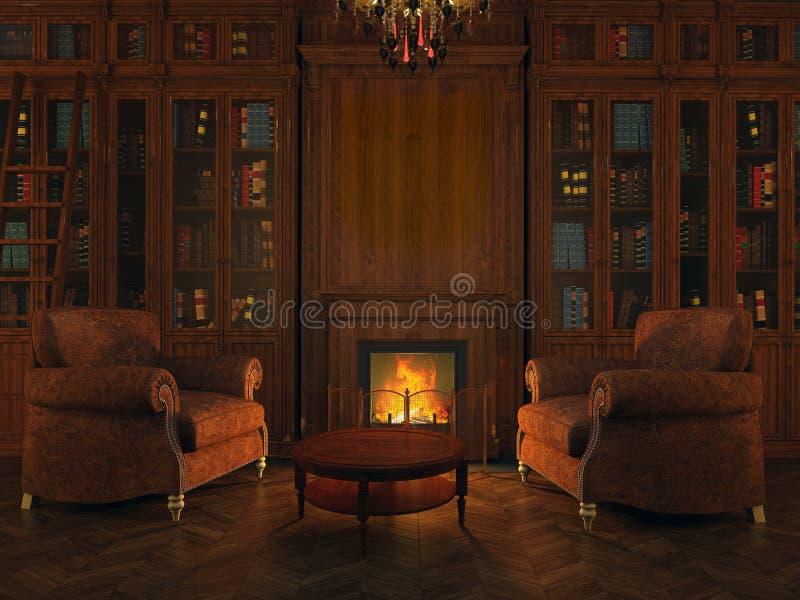 在壁炉附近的图书馆 免版税库存图片
